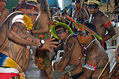 "Altamira, Brazil. ""Xingu Vivo Para Sempre"" protest meeting about the proposed Belo Monte hydroeletric dam and other dams on the Xingu river and its tributaries. Yudja, Kaiabi and Kuikuro leaders confer."