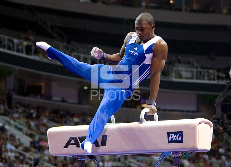 John Orozco of Hilton HHonors competes on pommel horse during the 2012 US Olympic Trials competition at HP Pavilion in San Jose, California on June 28th, 2012.
