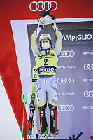 22nd December 2020, Madonna di Campiglio, Italy; FIS Mens slalom world cup race;  2nd placed Sebastian Foss Solevaag of Norway during the winners ceremony
