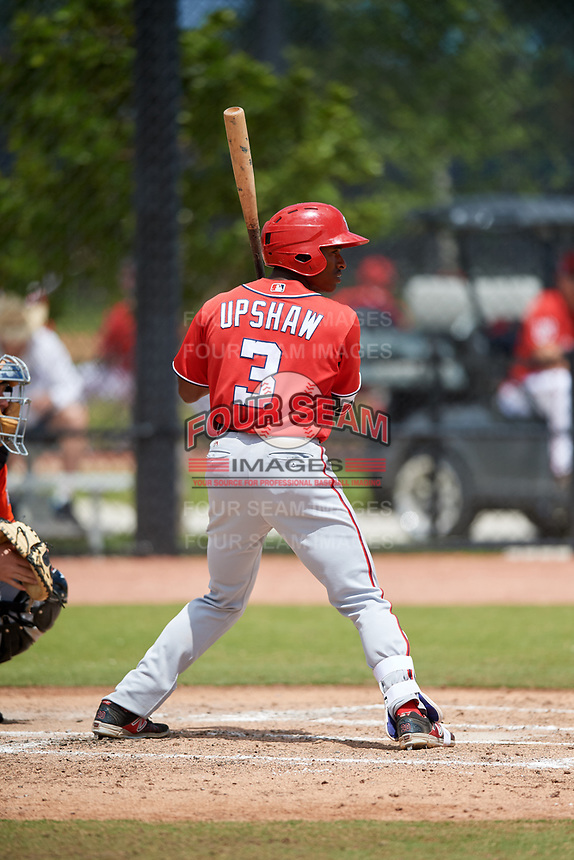 Washington Nationals Armond Upshaw (3) during a Minor League Spring Training game against the Miami Marlins on March 28, 2018 at FITTEAM Ballpark of the Palm Beaches in West Palm Beach, Florida.  (Mike Janes/Four Seam Images)