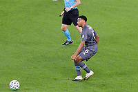 ST PAUL, MN - SEPTEMBER 27: Jacori Hayes #5 of Minnesota United FC passes the ball during a game between Real Salt Lake and Minnesota United FC at Allianz Field on September 27, 2020 in St Paul, Minnesota.