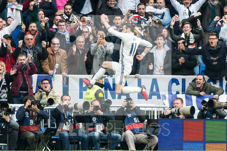 Garet Bale of Real Madrid celebrates after scoring a goal during the match of La Liga between Real Madrid and RCE Espanyol at Santiago Bernabeu  Stadium  in Madrid , Spain. February 18, 2016. (ALTERPHOTOS/Rodrigo Jimenez)