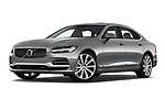 Stock pictures of low aggressive front three quarter view of 2018 Volvo S90 Inscription 4 Door Sedan Low Aggressive