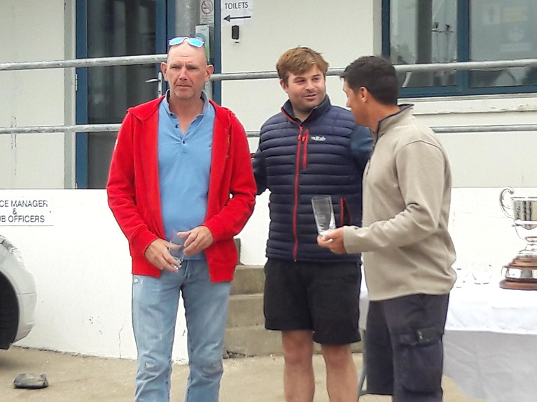 Andy Thompson (2nd placed crew), Peter Chamberlain and Shane McCarthy, 2nd Helm.