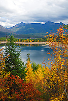 Hungry Horse Reservoir framed in fall colors.
