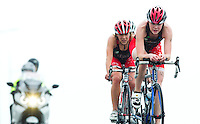 28 APR 2012 - LES SABLES D'OLONNE, FRA - Lucy Hall (right) leads the Brive Limousin Triathlon team on the bike during the women's French Grand Prix Series triathlon prologue round in Les Sables d'Olonne, France (PHOTO (C) 2012 NIGEL FARROW)