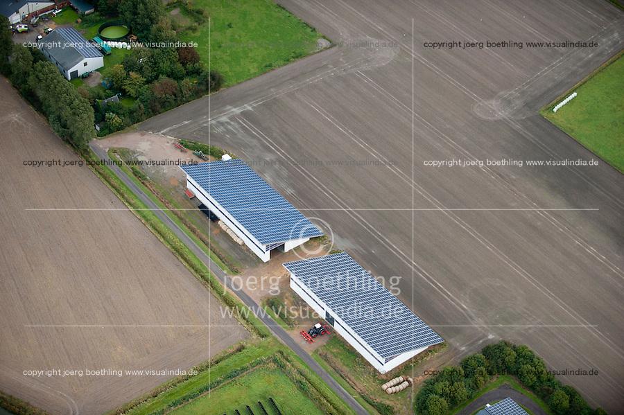 DEUTSCHLAND, Luftaufnahmen von Solardaechern auf Stallgebaeuden in Schleswig-Holstein | GERMANY aerial view of photovoltaic on farm buildings in Northern Germany