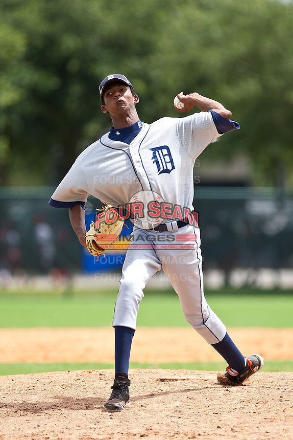 Ariel Medina of the Gulf Coast League Tigers during the game against the Gulf Coast League Braves July 3 2010 at the Disney Wide World of Sports in Orlando, Florida.  Photo By Scott Jontes/Four Seam Images
