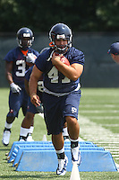 Virginia fullback Curt Orshoski  during open spring practice for the Virginia Cavaliers football team August 7, 2009 at the University of Virginia in Charlottesville, VA. Photo/Andrew Shurtleff