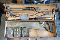 BNPS.co.uk (01202) 558833<br /> Pic: ZacharyCulpin/BNPS<br /> <br /> Pictured: Shop manager, Saffron Lafferty at the The Vintage Tool Shop of Stalbridge in Dorset. <br /> <br /> An antique tool shop has reported a boom in sales thanks to the coronavirus pandemic.<br /> <br /> The Vintage Tool Shop & Gallery boasts a collection of more than 10,000 vintage tools for carpentry, engineering and everything in between.<br /> <br /> The shop buys tools from people who have cleared their sheds out and, thanks to the three lockdowns and many spending more time in their sheds, business is booming.