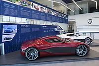 CROATIA, Sveta Nedelja near Zagreb, Rimac Automobili HQ, Showroom with e-cars Concept One P1 and P4  / KROATIEN, Sveta Nedelja bei Zagreb , Rimac Automobili HQ, Showroom mit Elektro Auto Concept One P1 und P4, der weisse P4 hat eine Leistung von 1224 PS und eine Spitzengeschwindigkeit von 355 km/h