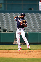 Shortstop Kahlil Watson (6) throws to first base during the Baseball Factory All-Star Classic at Dr. Pepper Ballpark on October 4, 2020 in Frisco, Texas.  Kahlil Watson (6), a resident of Wake Forest, North Carolina, attends Wake Forest High School.  (Ken Murphy/Four Seam Images)