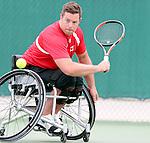 Philippe Bedard, Rio 2016 - Wheelchair Tennis // Tennis en fauteuil roulant.<br /> Team Canada practices at the Olympic tennis centre // Équipe Canada s'entraîne au centre olympique de tennis. 06/09/2016.