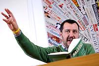Matteo Salvini<br /> Roma 09-12-2015 Stampa Estera. Presentazione del libro 'Il metodo Salvini, contro l'Europa, contro l'immigrazione selvaggia, contro il politically correct'.<br /> Presentation of the book 'Salvini's method, against the wild immigration, against the politically correct'.<br /> Photo Samantha Zucchi Insidefoto