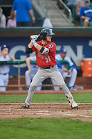 Jay Schuyler (36) of the Billings Mustangs bats against the Ogden Raptors at Lindquist Field on August 18, 2018 in Ogden, Utah. Billings defeated Ogden 6-4. (Stephen Smith/Four Seam Images)