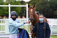 Winner of The Draintech Tankers Nursery Stakes Bella Notte ridden by Mark Crehan and trained by Mick Channon in the Winners enclosure during Horse Racing at Salisbury Racecourse on 11th September 2020