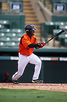 GCL Orioles center fielder Markel Jones (17) at bat during a game against the GCL Red Sox on August 16, 2016 at the Ed Smith Stadium in Sarasota, Florida.  GCL Red Sox defeated GCL Orioles 2-0.  (Mike Janes/Four Seam Images)