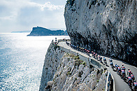 peloton rolling along the Mediterranean <br /> <br /> 112th Milano-Sanremo 2021 (1.UWT)<br /> 1 day race from Milan to Sanremo (299km)<br /> <br /> ©kramon