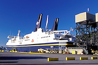 car ferry, Newfoundland, NF, Canada, Marine Atlantic Ferry from Nova Scotia docked at Channel-Port-au-Basques Ferry Terminal.