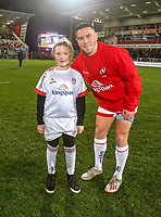 Friday 22nd November 2019 | Ulster Rugby vs Clermont Auvergne<br /> <br /> Ulster mascot Lily-Rose Sturgeon with John Cooney during the Heineken Champions Cup Pool 3 Round 2 match between Ulster Rugby  and Clermont Auvergne at Kingspan Stadium, Ravenhill Park, Belfast, Northern Ireland. Photo by John Dickson/DICKSONDIGITAL