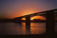 St. Louis: Eads Bridge--Early Morning, Silhouette.