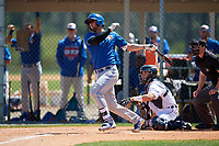 Toronto Blue Jays Jake Brodt (23) hits a home run during a Minor League Spring Training game against the Detroit Tigers on March 22, 2019 at the TigerTown Complex in Lakeland, Florida.  (Mike Janes/Four Seam Images)