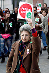 Anti-eviction activist hold placard and shout slogans during an 'escrache'  outside popular party deputy and defense comission spokeswoman Beatriz Rodriguez-Salmones house in Madrid on April 11, 2013 in Madrid, Spain. Placard reads ' 'Yes we can but they don't want'. The Mortgage Holders Platform (PAH) and other anti evictions organizations have been organizing 'escraches' for several weeks under the slogan 'There are lives at risk' to claim the vote for a Popular Legislative Initiative (ILP) to stop evictions and facilitate social rent, outside Popular Party deputies' houses and offices. 'Escraches' are a form of peaceful protest that were used in Argentine in 1995 to publically denounce pardoned members of the dictatorship for their crimes at their doorsteps(ALTERPHOTOS/Alconada)