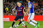 Andres Iniesta of FC Barcelona (L) in action during the La Liga match between Barcelona and Real Sociedad at Camp Nou on May 20, 2018 in Barcelona, Spain. Photo by Vicens Gimenez / Power Sport Images