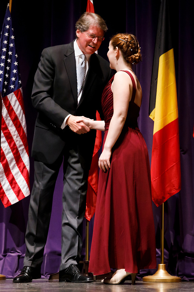 Indiana University Jacobs School of Music Dean Gwyn Richards congratulates first prize winner Melanie Laurent from France during the awards ceremony of the 11th USA International Harp Competition at Indiana University in Bloomington, Indiana on Saturday, July 13, 2019. (Photo by James Brosher)