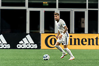 FOXBOROUGH, MA - SEPTEMBER 5: Curtis Thorn #23 of Tormenta FC looks to pass during a game between Tormenta FC and New England Revolution II at Gillette Stadium on September 5, 2021 in Foxborough, Massachusetts.