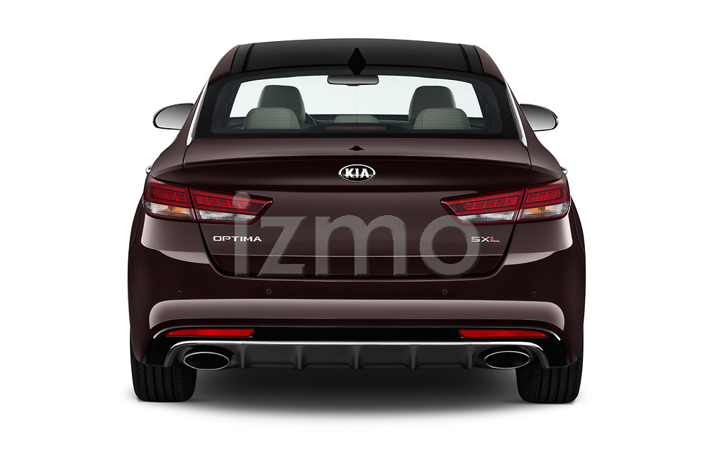 Straight rear view of a 2017 KIA Optima SX Limited AT 4 Door Sedan stock images