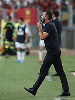 Football, Serie A: AS Roma - Sassuolo, Olympic stadium, Rome, September 15, 2019. <br /> Sassuolo's coach Roberto De Zerbi speaks to his players during the Italian Serie A football match between Roma and Sassuolo at Olympic stadium in Rome, on September 15, 2019.<br /> UPDATE IMAGES PRESS/Isabella Bonotto