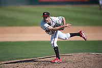 Modesto Nuts relief pitcher Wyatt Mills (41) follows through on his delivery during a California League game against the Lake Elsinore Storm at John Thurman Field on May 13, 2018 in Modesto, California. Lake Elsinore defeated Modesto 4-3. (Zachary Lucy/Four Seam Images)