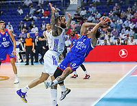 30th September 2021; Madrid, Spain:  Euroleague Basketball, Real Madrid versus Anadolu Efes Istanbul;  Jeff Taylor of team Real Madrid clashes with Shane Larkin of team Anadalou Efes during the Matchday 1 between Real Madrid and Anadolu Efes Istanbul