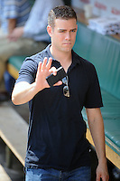 Chicago Cubs general manager Theo Epstein before a game against the Arizona Diamondbacks at Wrigley Field on July 15, 2012 in Chicago, Illinois. The Cubs defeated the Diamondbacks 3-1. (Tony Farlow/Four Seam Images).
