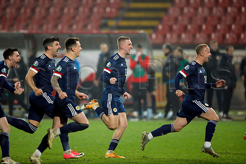 12th November 2020; Belgrade, Serbia; European International Football Playfoff Final, Serbia versus Scotland;  Scotland players celebrate victory after the penalty shootout
