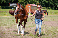 NZL-Jess Wilson with Tim Price's Jarillo during the 1st Horse Inspection for the CCI2*-L. FRA-Le Grand Complet - Haras du Pin FEI Nations Cup Eventing. Le Pin au Haras. Normandie. France. Thursday 12 August 2021. Copyright Photo: Libby Law Photography