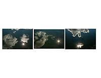 Triptych of cloud and starburst reflection, XY Lake near Talkeetna, Alaska.