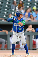 Catcher Freddy Fermin (4) of the Lexington Legends bats in a game against Columbia Fireflies on Thursday, June 13, 2019, at Segra Park in Columbia, South Carolina. Lexington won, 10-5. (Tom Priddy/Four Seam Images)
