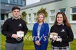 Students of the Year Alex Quinn and Aoife O'Brien with Principal Stella Loughnane at the 2021 Killarney Community College awards on Tuesday