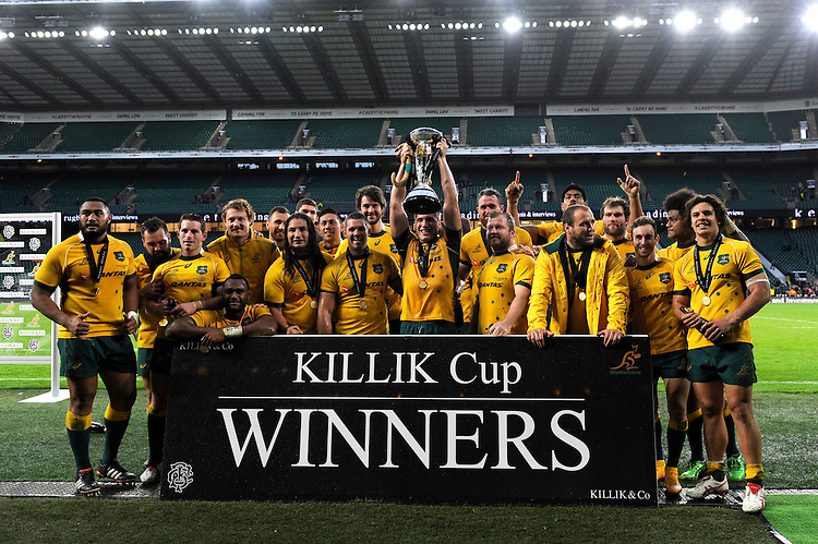 Australia win the Killik Cup match between Barbarians and Australia at Twickenham Stadium on Saturday 1st November 2014 (Photo by Rob Munro)