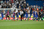 Juventus´s players celebrate their victory at the Champions League semi final soccer match between Real Madrid and Juventus at Santiago Bernabeu stadium in Madrid, Spain. May 13, 2015. (ALTERPHOTOS/Victor Blanco)
