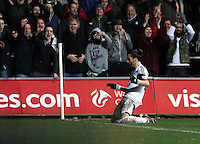 Tuesday, 28 January 2014<br /> Pictured: Chico Flores of Swansea (2nd L), celebrating his goal.<br /> Re: Barclay's Premier League, Swansea City FC v Fulham at the Liberty Stadium, south Wales.