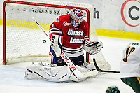 6 November 2009: University of Massachusetts Lowell River Hawks' goaltender Nevin Hamilton, a Senior from Ashland, MA, gives up a third period game-tying goal to the University of Vermont Catamounts at Gutterson Fieldhouse in Burlington, Vermont. The Hockey East rivals battled to a 3-3 tie. Mandatory Credit: Ed Wolfstein Photo