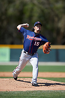 Minnesota Twins Dereck Rodríguez (15) during a minor league Spring Training game against the Baltimore Orioles on March 17, 2017 at the Buck O'Neil Baseball Complex in Sarasota, Florida.  (Mike Janes/Four Seam Images)