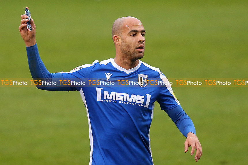 Jordan Graham of Gillingham, scorer of their only goal from the penalty spot throws his energy bar to the side of the pitch during Gillingham vs Charlton Athletic, Sky Bet EFL League 1 Football at the MEMS Priestfield Stadium on 21st November 2020