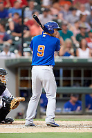 Nick Ciuffo (9) of the Durham Bulls at bat against the Charlotte Knights at BB&T BallPark on July 4, 2018 in Charlotte, North Carolina. The Knights defeated the Bulls 4-2.  (Brian Westerholt/Four Seam Images)