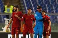 From left, Roma's Federico Fazio, Juan Jesus, Alisson Becker and Alessandro Florenzi celebrate at the end of the Serie A football match between Roma and Bologna at Rome's Olympic stadium, October 28, 2017. Roma won 1-0.<br /> UPDATE IMAGES PRESS/Riccardo De Luca