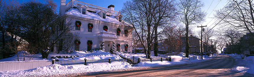 The Capt. Thomas Thompson house decorated for Christmas in Portsmouth, New Hampshire. Photograph by Peter E, Randall