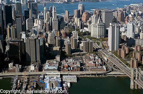 aerial photograph City Hall, Brooklyn Bridge, East river, piers, downtown Manhattan, New York City